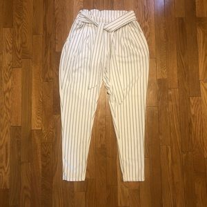Striped pants with belt